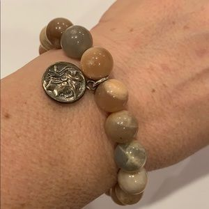 Handcrafted sterling silver polished stone beads